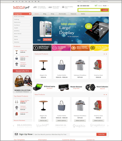 Mẫu web theme mega shop wordpress