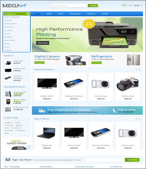 mẫu theme web wordpress với theme mega shop